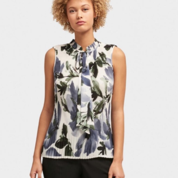 NWT DKNY PLEATED FLORAL TIE-NECK TOP XL